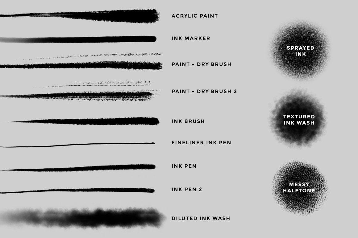 12款油漆水墨绘画效果Procreate笔刷 Ink And Paint Procreate Brushes插图(4)