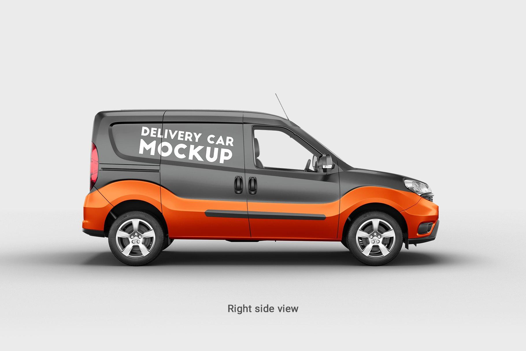6款面包车小货车车身广告设计展示样机 Delivery Car Mockup 3插图(3)