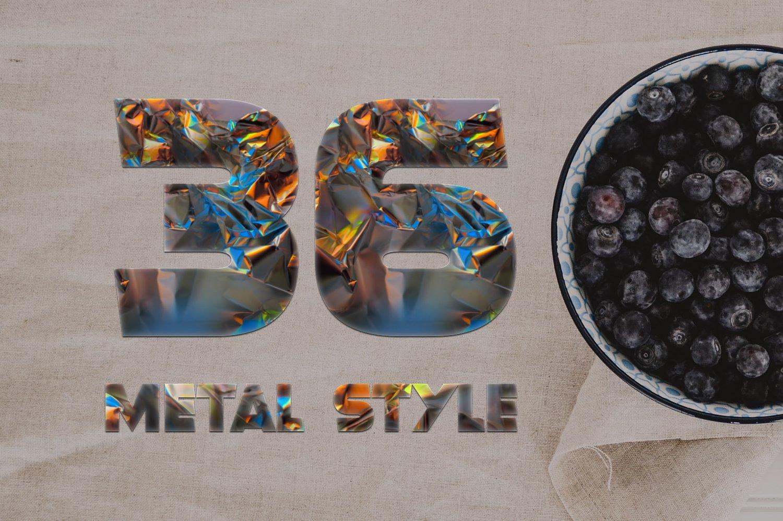 36个铝箔效果标题文字设计PS样式模板 Foil Style Text Effect插图(3)