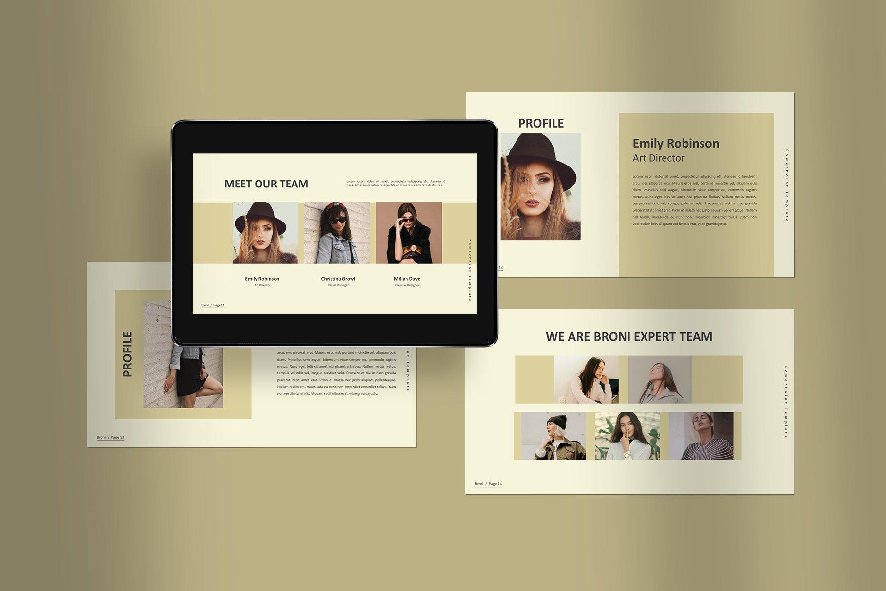 简洁服装摄影作品集图文排版设计PPT幻灯片模板 Broni – Minimalist Presentation插图(3)
