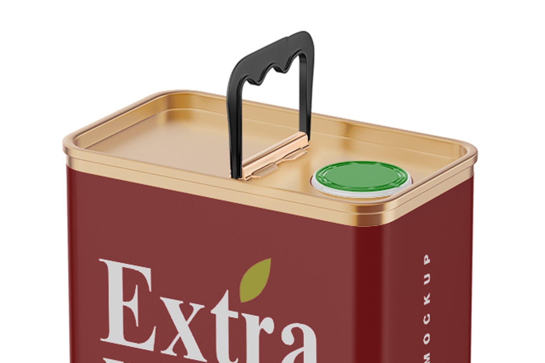 哑光橄榄油锡罐设计展示样机模板 Matte Olive Oil Tin Can Mockup插图(3)