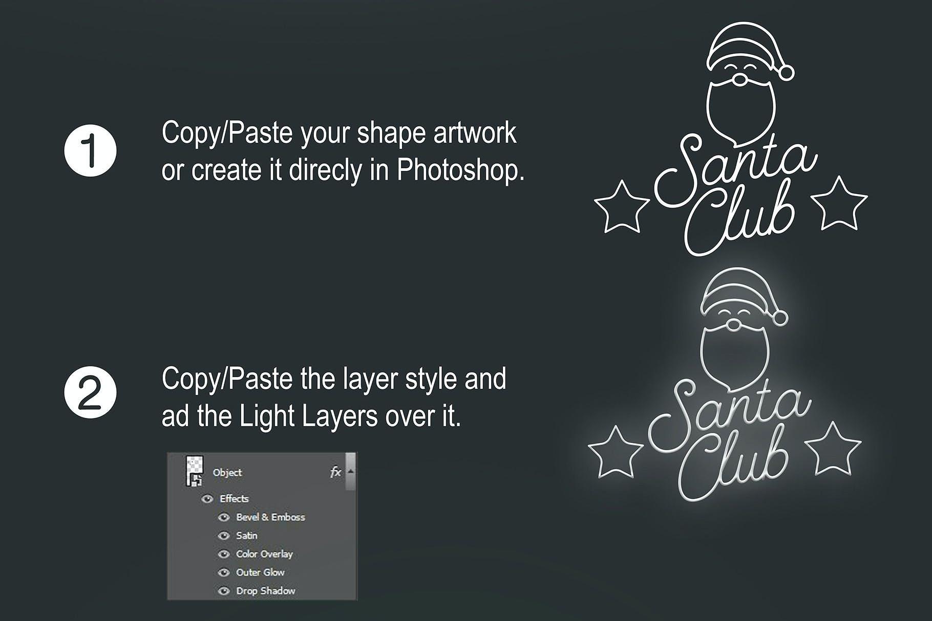 圣诞节主题霓虹灯效果图形文字设计PS样式模板 Neon Christmas Layer Style插图(3)