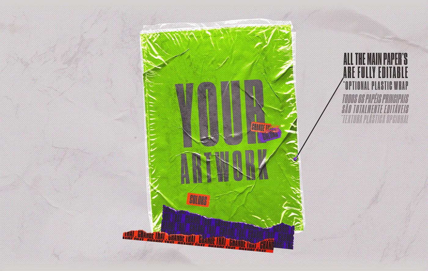 [淘宝购买] 4款潮流撕纸塑料袋叠层效果海报设计贴图PSD样机 CORES Mockups Pack插图(3)