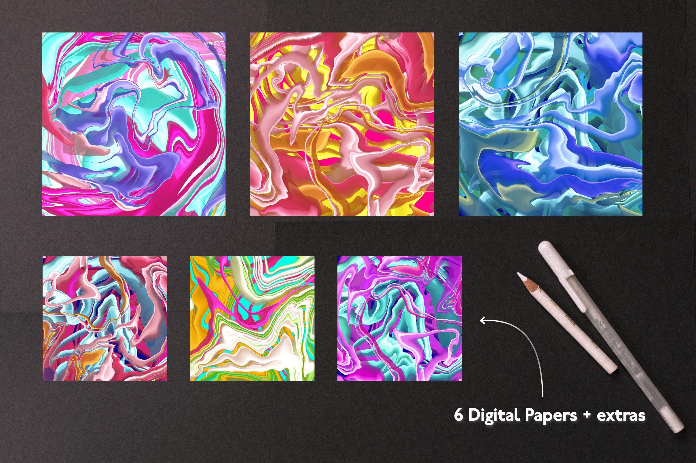 大理石纹理Procreate笔刷 Liquid Marble Texture Brush Bundle Noise插图(3)