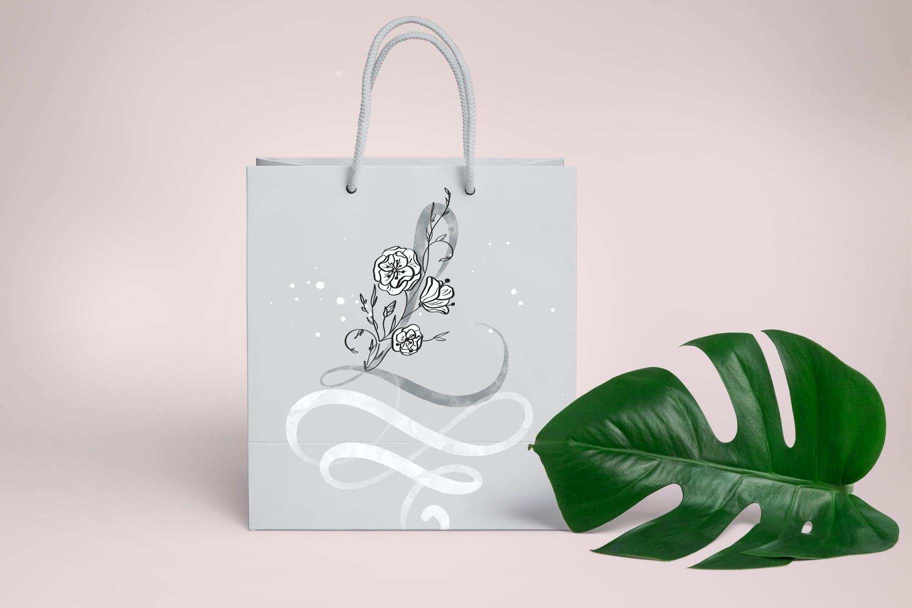 花卉字母水彩字母表装饰图案图片素材 Flowers Letters Watercolor Alphabet插图(3)