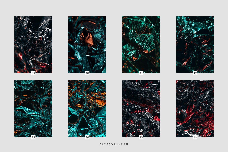 [淘宝购买] 16抽象褶皱金属箔平面广告海报设计背景纹理图片素材 Cipher – Abstract Metal Foil Texture插图(4)