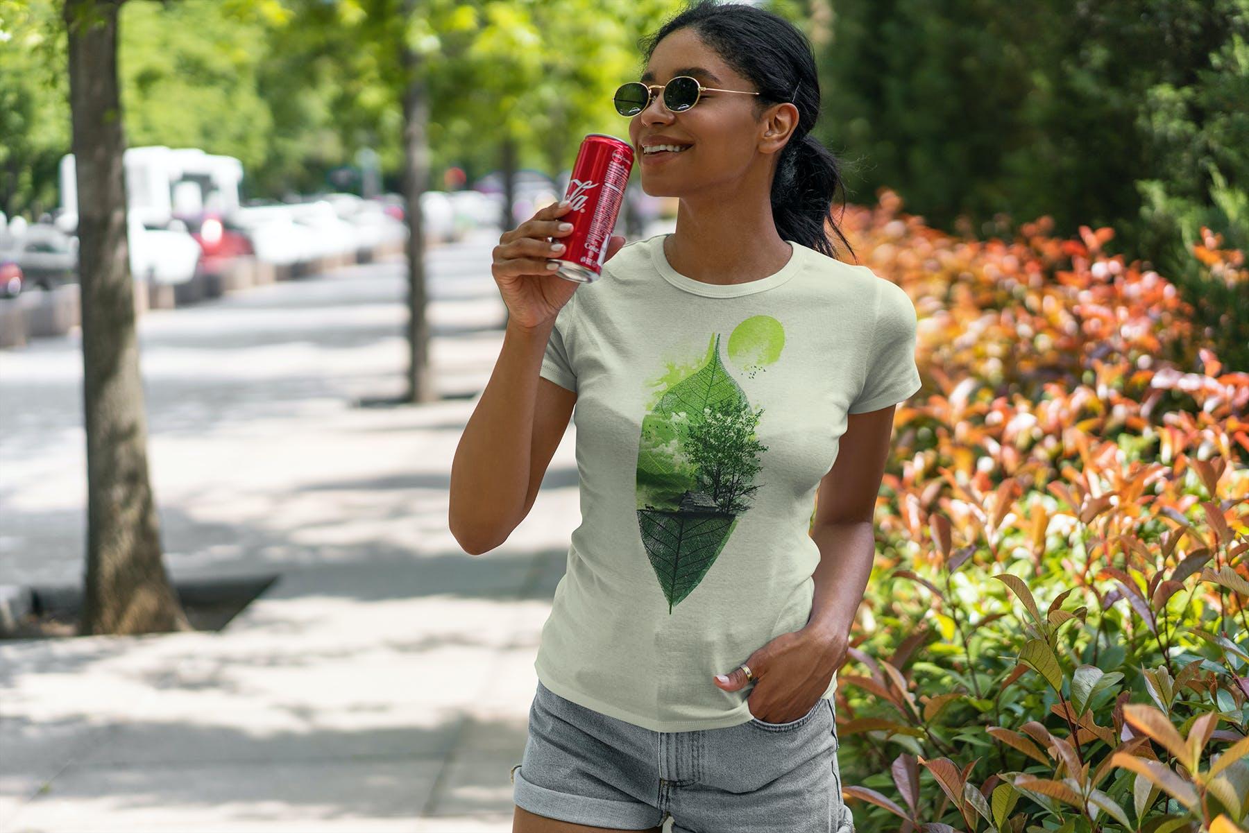 9款女性T恤半袖衫设计展示样机 T-Shirt Mockup Black Girl插图(3)