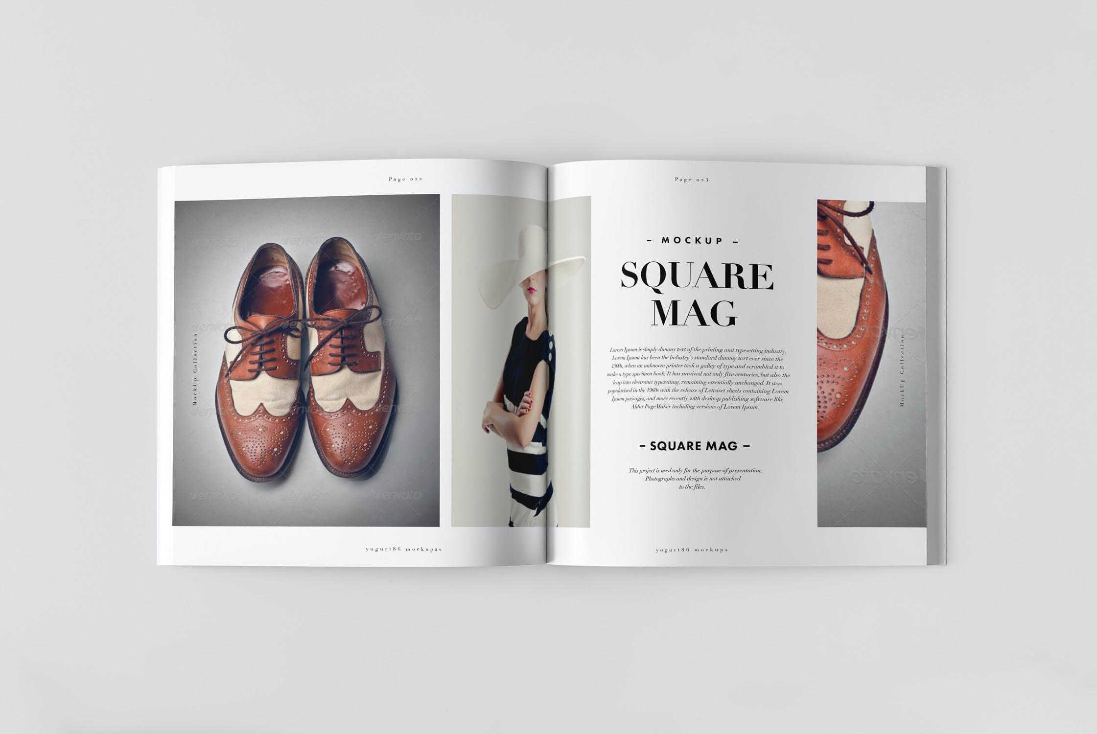 8款逼真方形杂志画册设计展示样机 Square Magazine Mockup插图(3)