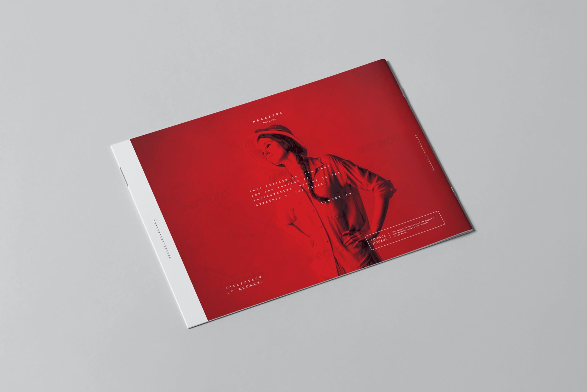 10款横版A4画册杂志设计展示样机模板 A4 Horizontal Brochure Mockup 3插图(3)