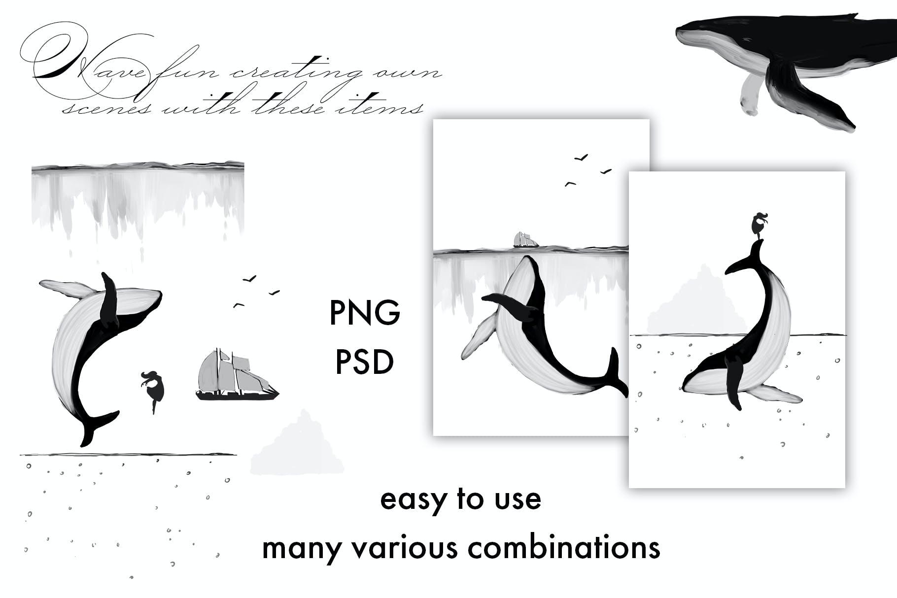 30款精美高清手绘鲸鱼轮船山脉图片素材 Whales – Black And White Prints插图(3)