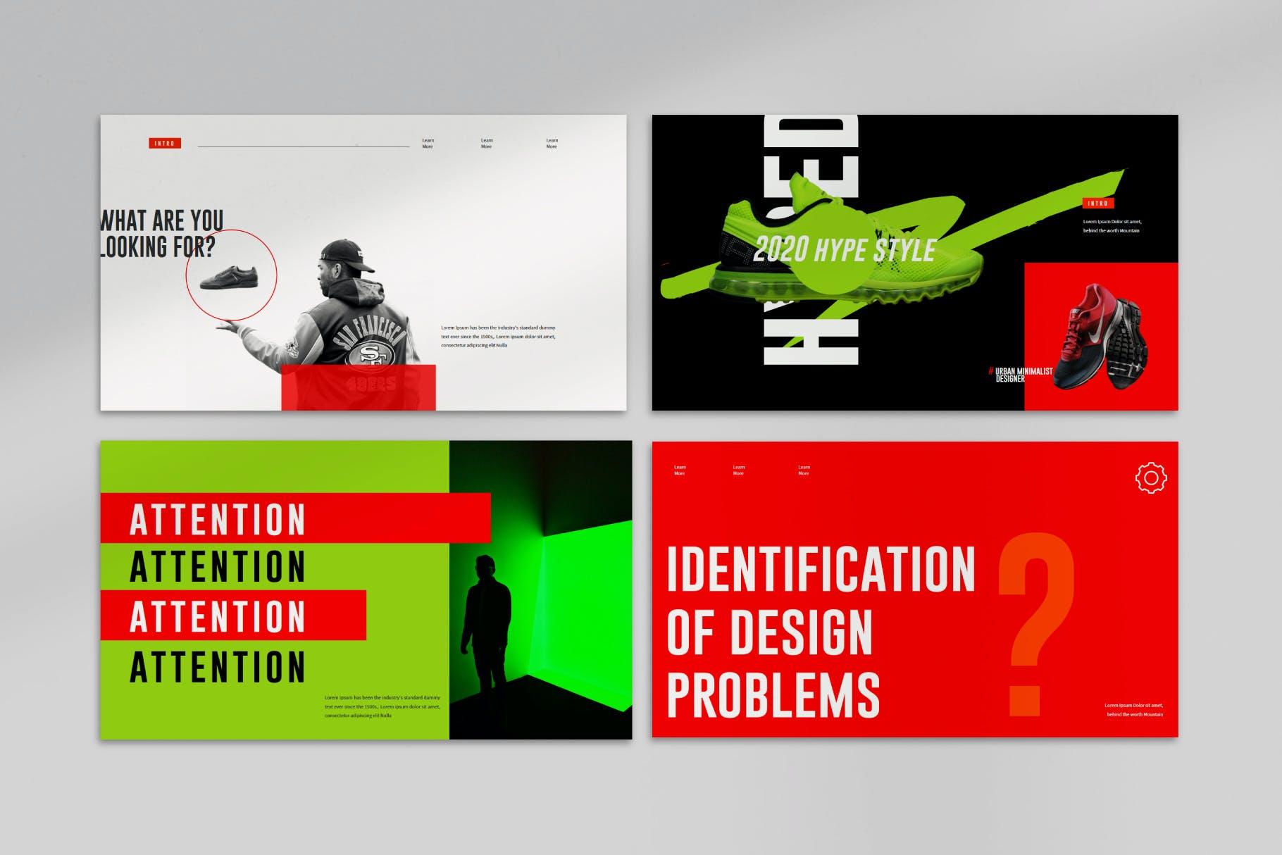 时尚潮流撞色运动潮牌品牌推广PPT演示文稿模板素材 Aerox – Powerpoint Template插图(3)