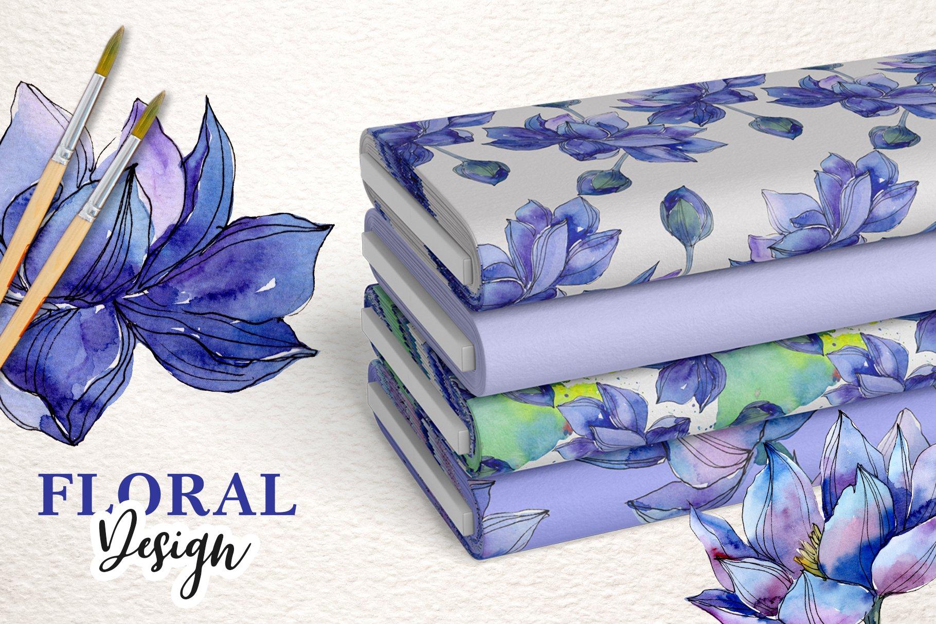 18个高清手绘莲花水彩画PNG免抠图片素材 Watercolor Lotus Set插图(3)