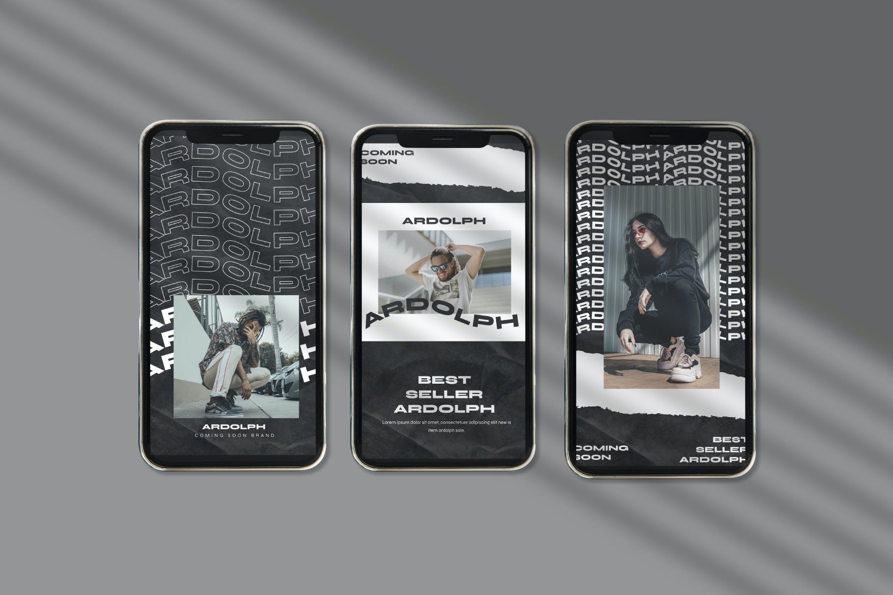 时尚撕纸效果街头潮牌品牌推广新媒体海报设计PSD模板 Ardolph – Instagram Post and Stories插图(3)