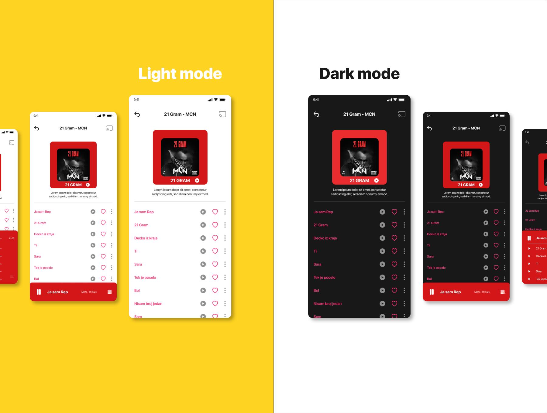 音乐播放器APP应用程序设计UI套件FIG模板 Opala Music app – FIGMA Version插图(1)