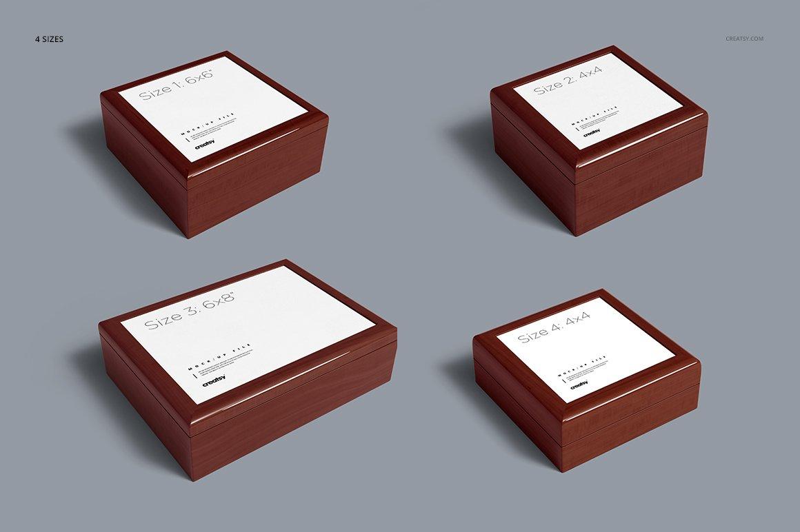 16个木质珠宝盒设计展示样机模板集 Tiled Wood Jewelry Box Mockup Set插图(3)