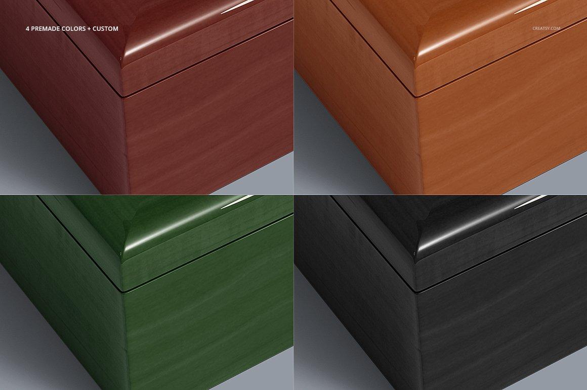 16个木质珠宝盒设计展示样机模板集 Tiled Wood Jewelry Box Mockup Set插图(4)