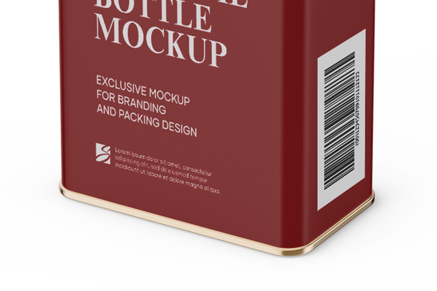 哑光橄榄油锡罐设计展示样机模板 Matte Olive Oil Tin Can Mockup插图(4)