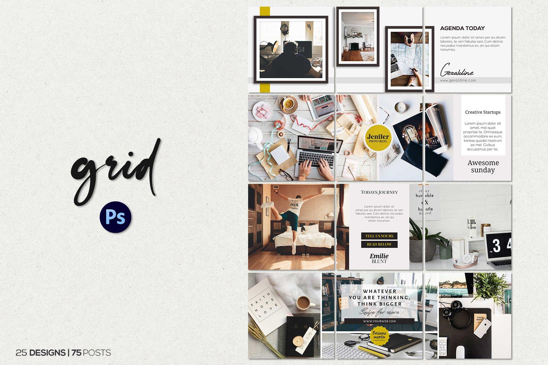 毛笔笔刷效果新媒体电商海报设计PSD模板 Agenda Insta Grid (Triple Posts)插图(3)