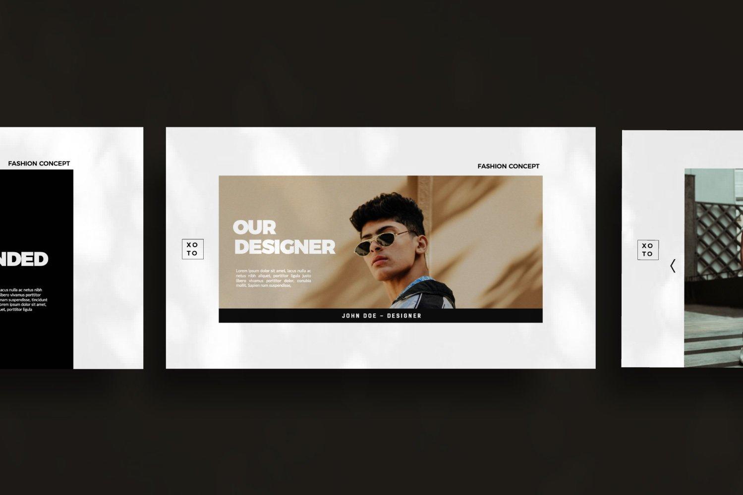 时尚简约服装设计作品集演示文稿模板 Xoto – Fashion Minimal Powerpoint插图(3)