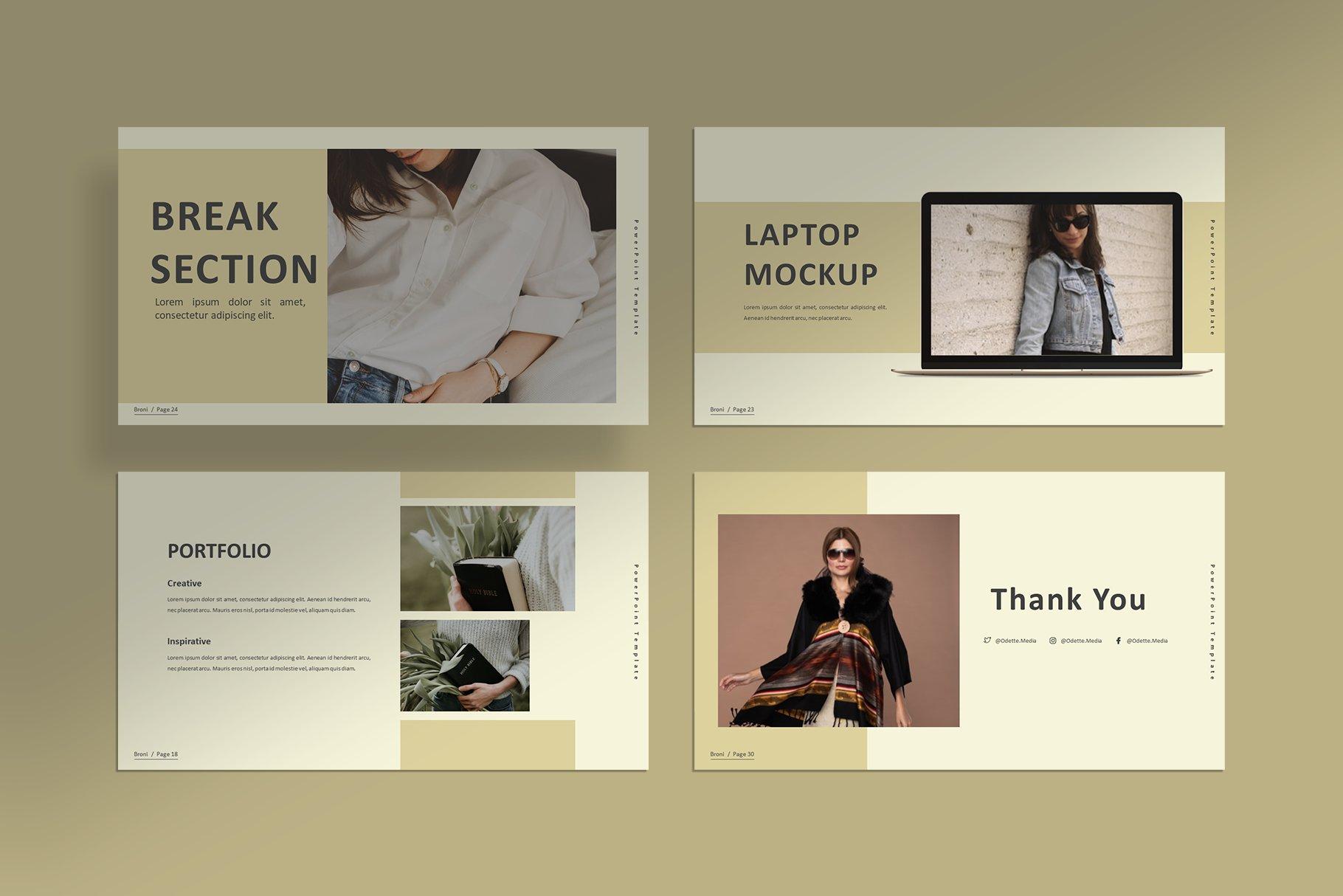 简洁服装摄影作品集图文排版设计PPT幻灯片模板 Broni – Minimalist Presentation插图(4)