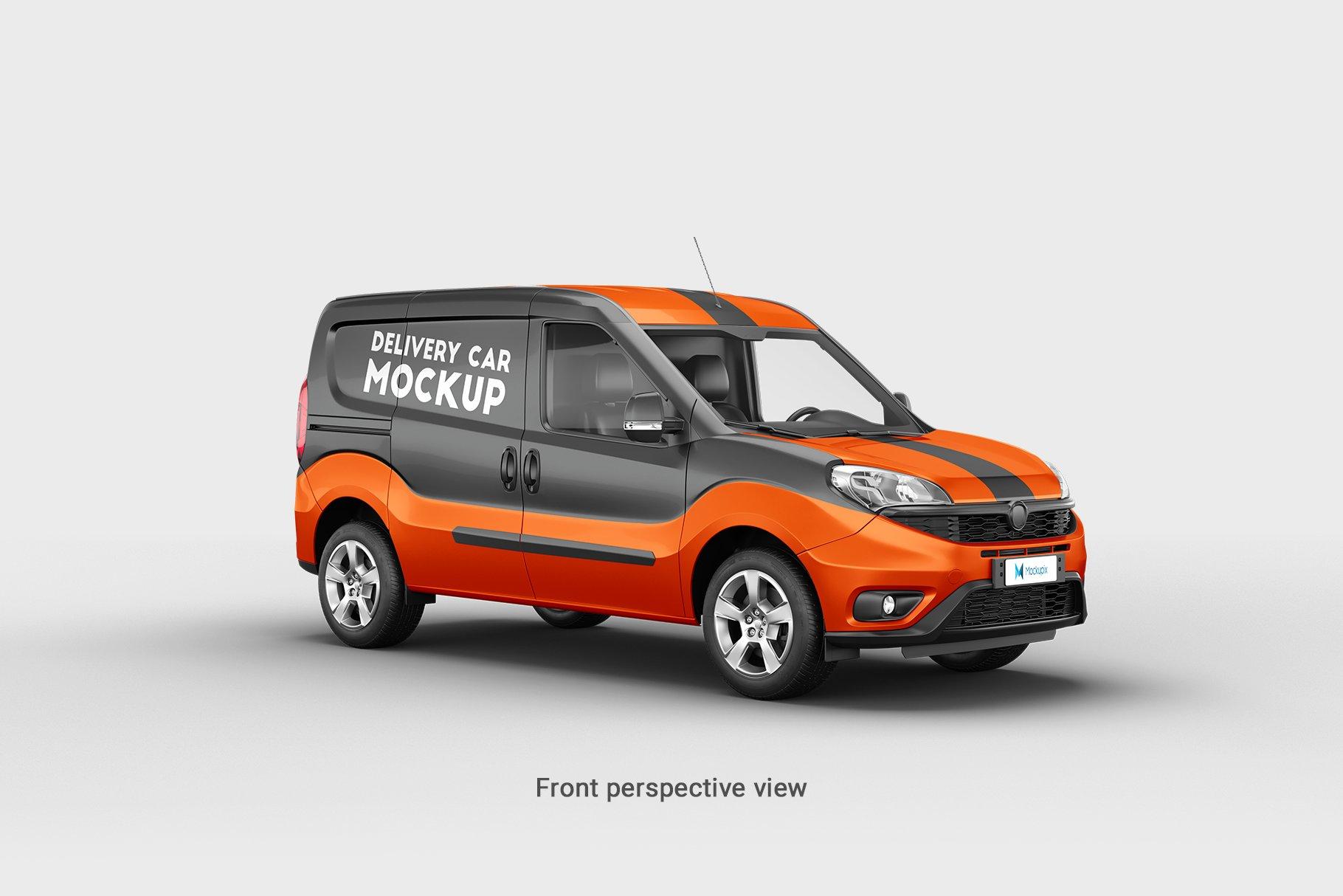 6款面包车小货车车身广告设计展示样机 Delivery Car Mockup 3插图(4)