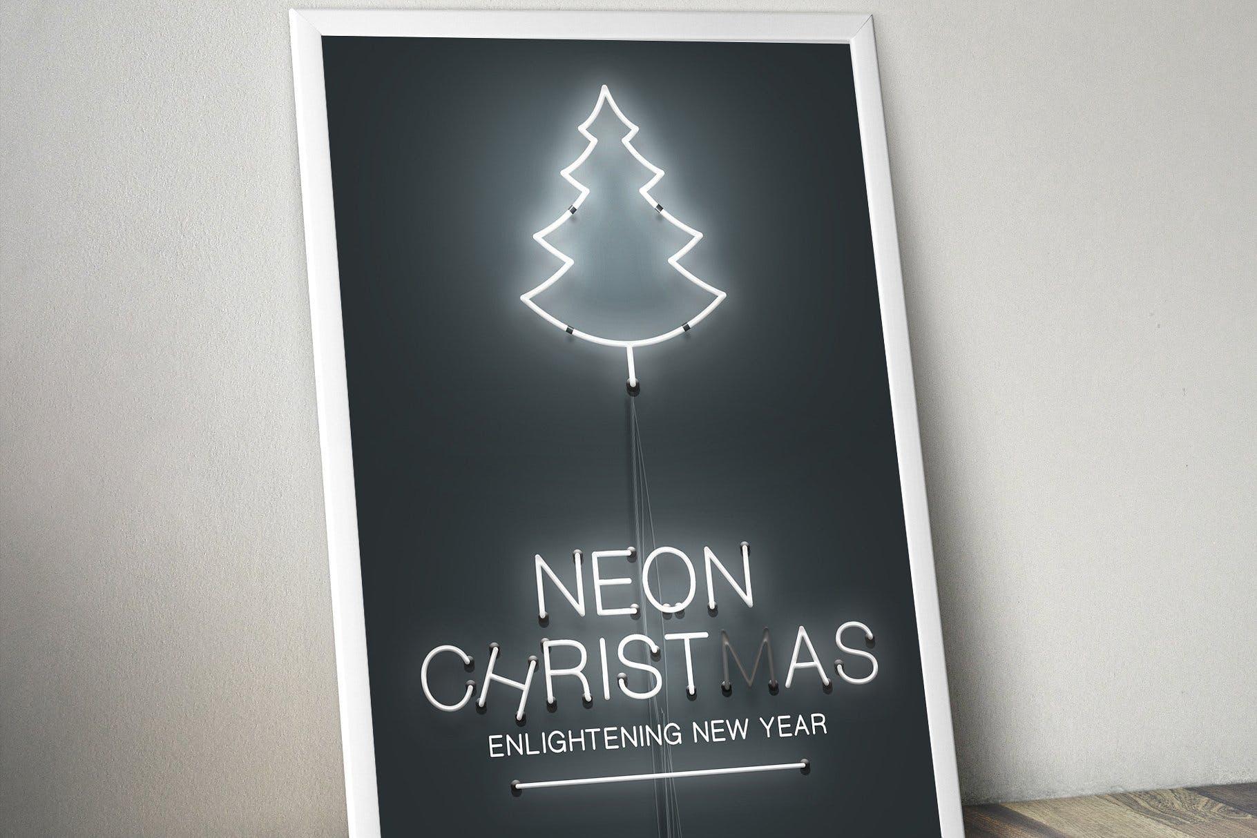 圣诞节主题霓虹灯效果图形文字设计PS样式模板 Neon Christmas Layer Style插图(4)