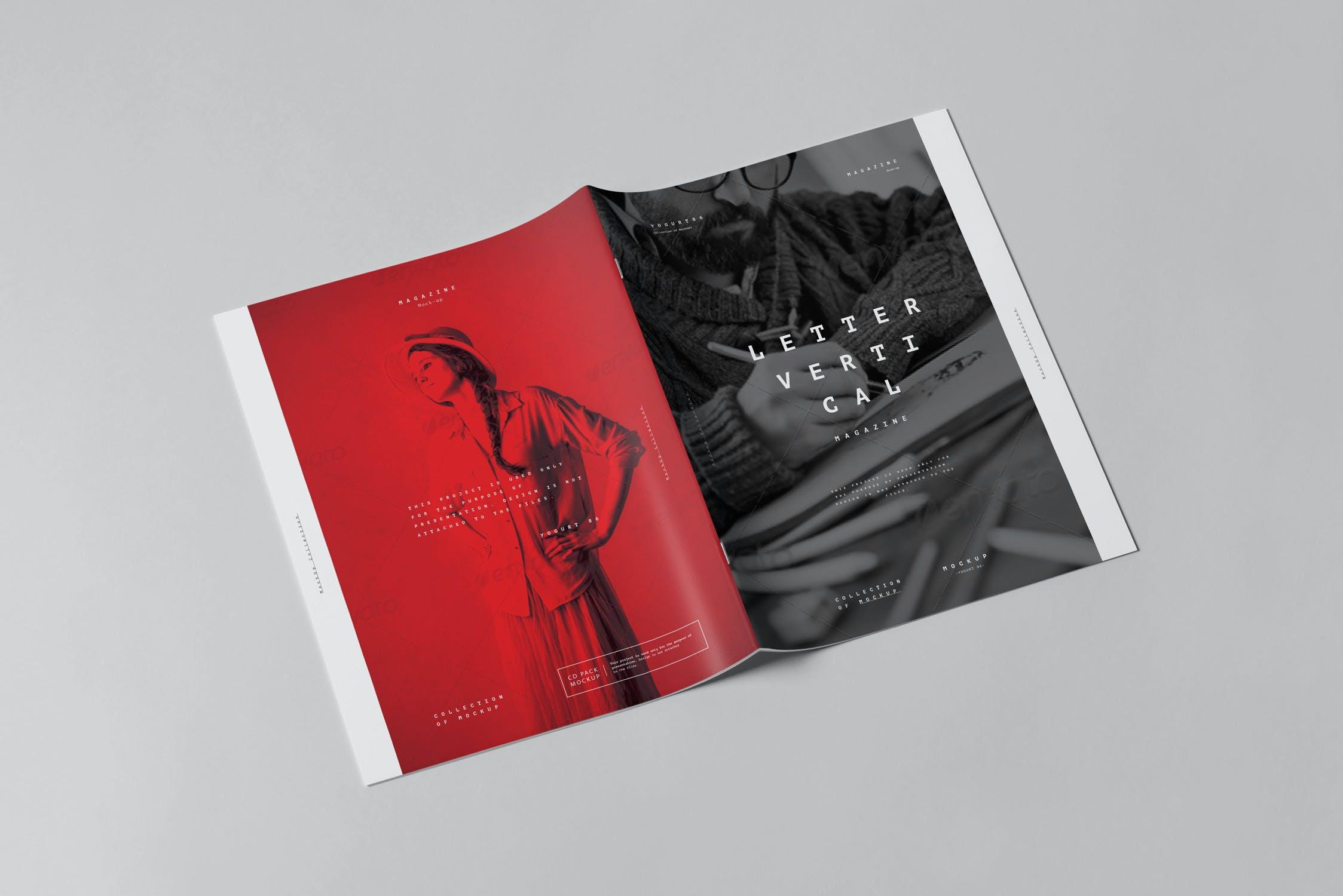 10款骑马钉宣传画册杂志设计展示样机模板 US Letter Brochure Mockup 3插图(4)