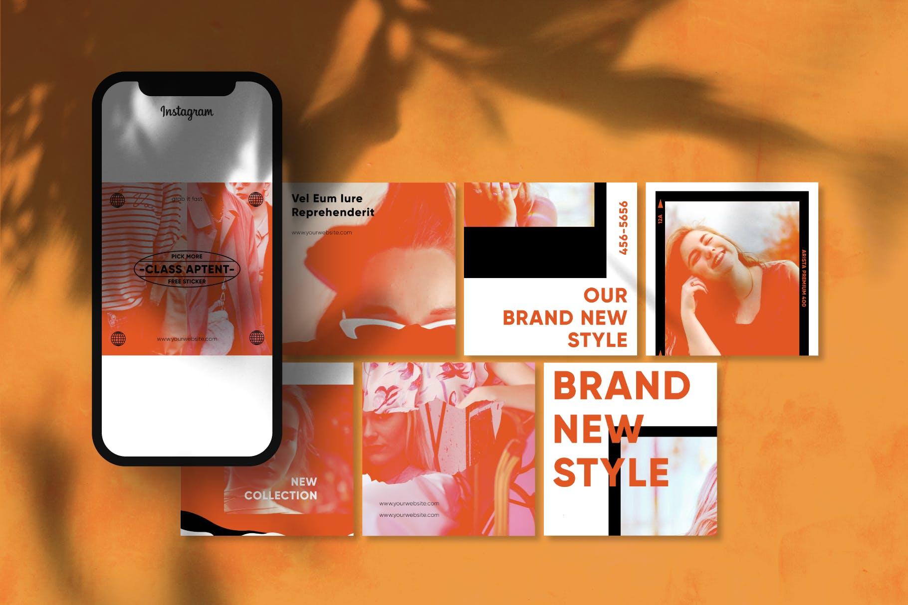 现代拼图效果新媒体推广电商海报设计模板 Gensen – Instagram Puzzle Template插图(4)