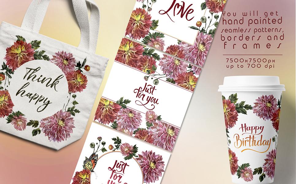 90个粉红色紫苑花水彩画图片套装 Charming Asters Watercolor Set插图(4)