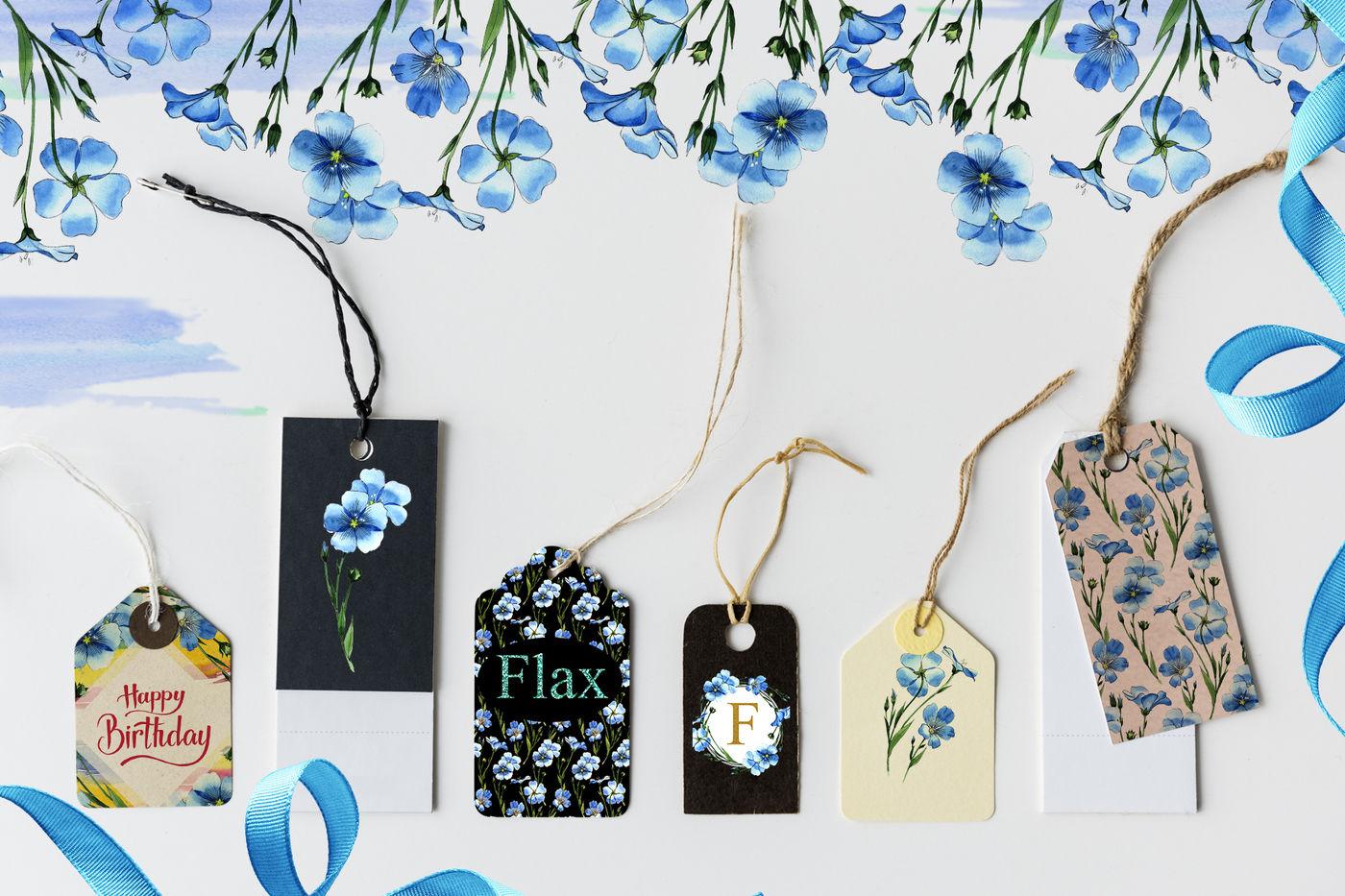 高清亚麻蓝色花卉水彩剪贴画PNG透明图片水彩 Flax Blue Watercolor PNG插图(4)
