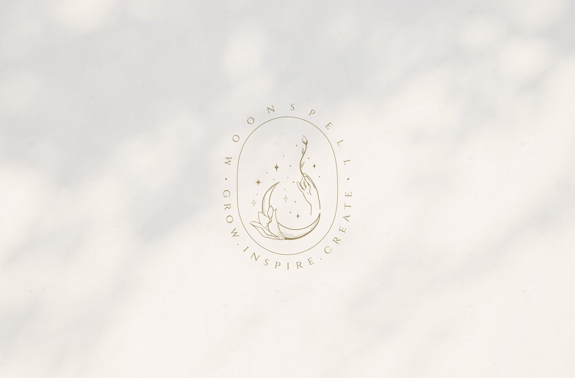月亮主题品牌标志设计&矢量插画背景包装设计素材 Premade Moon Brand Logo and Packaging Design插图(4)
