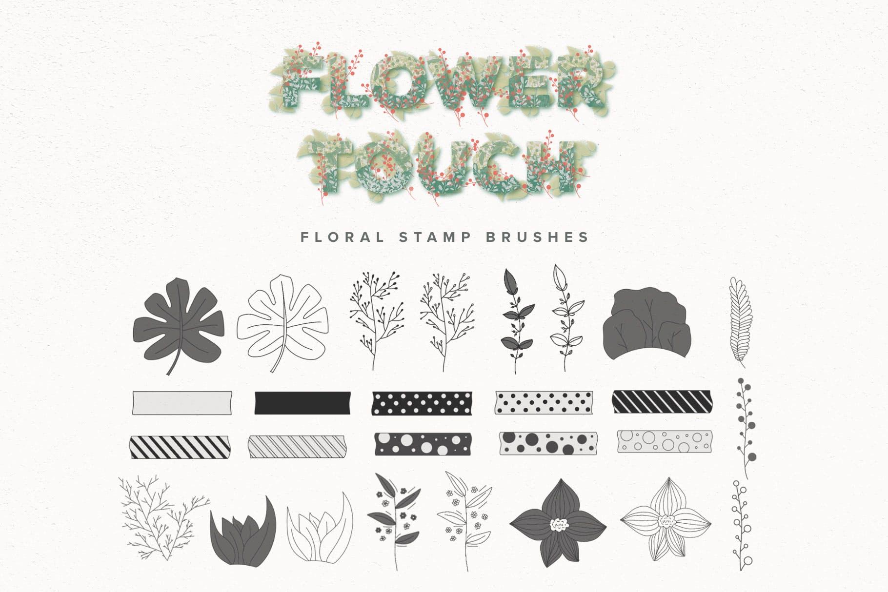 艺术绘画花卉装饰图案纹理Procreate笔刷 Flower Touch Procreate Brushes插图(4)