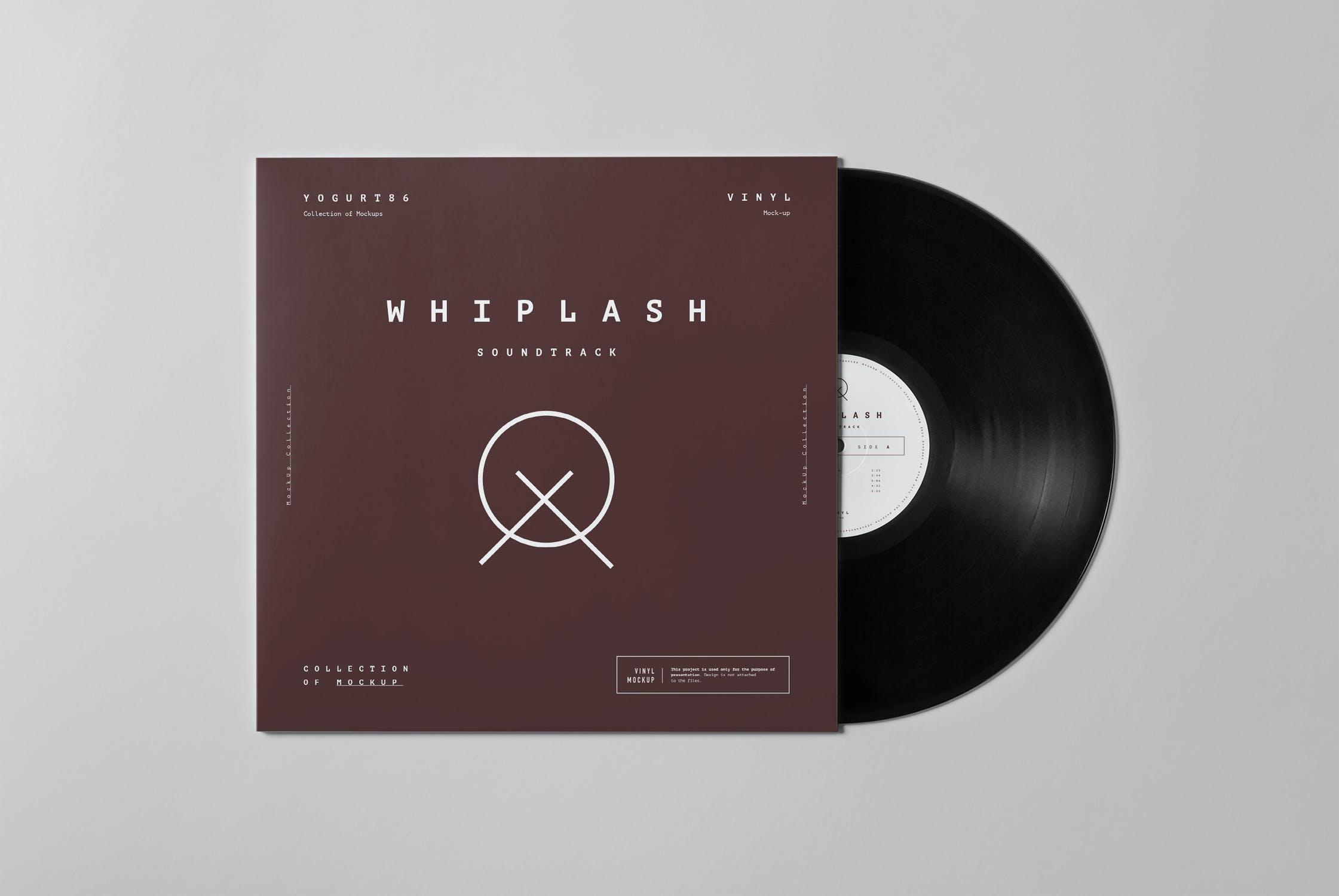 8款黑胶唱片包装纸袋设计展示样机模板 Vinyl Mockup插图(4)
