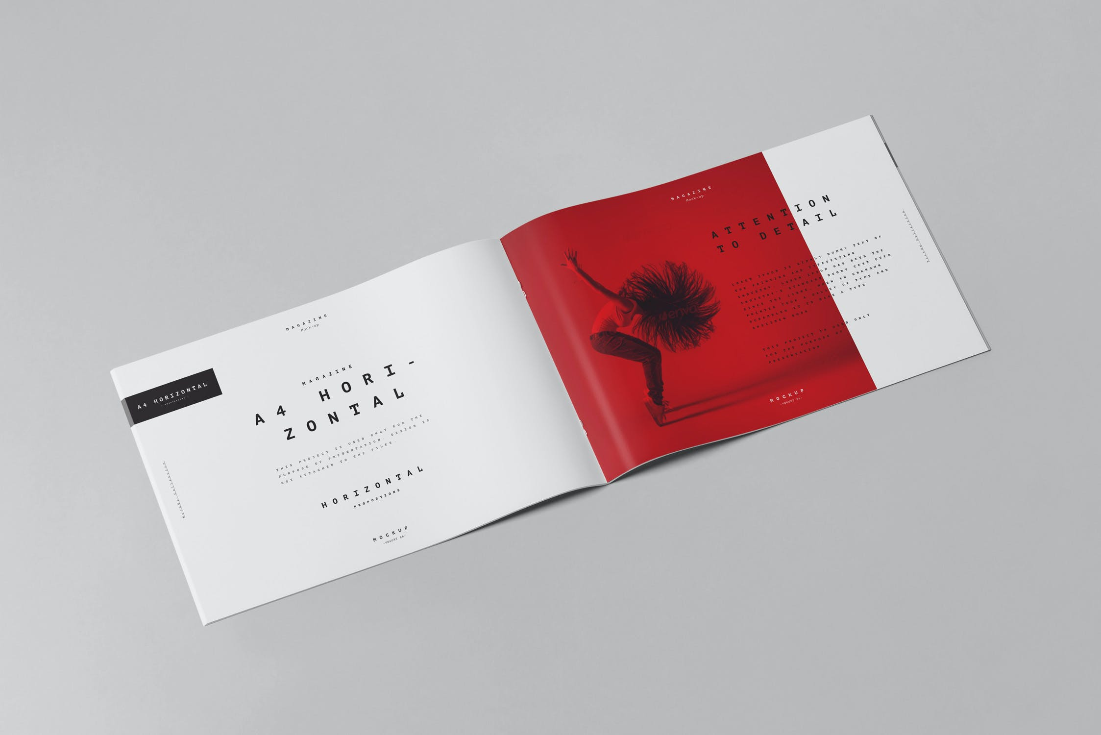 10款横版A4画册杂志设计展示样机模板 A4 Horizontal Brochure Mockup 3插图(4)