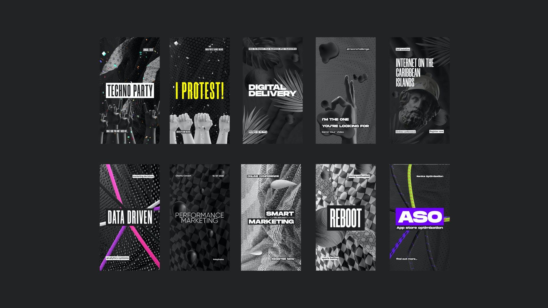 黑色潮牌新媒体推广电商海报设计模板合集 Black Social Media Pack插图(4)