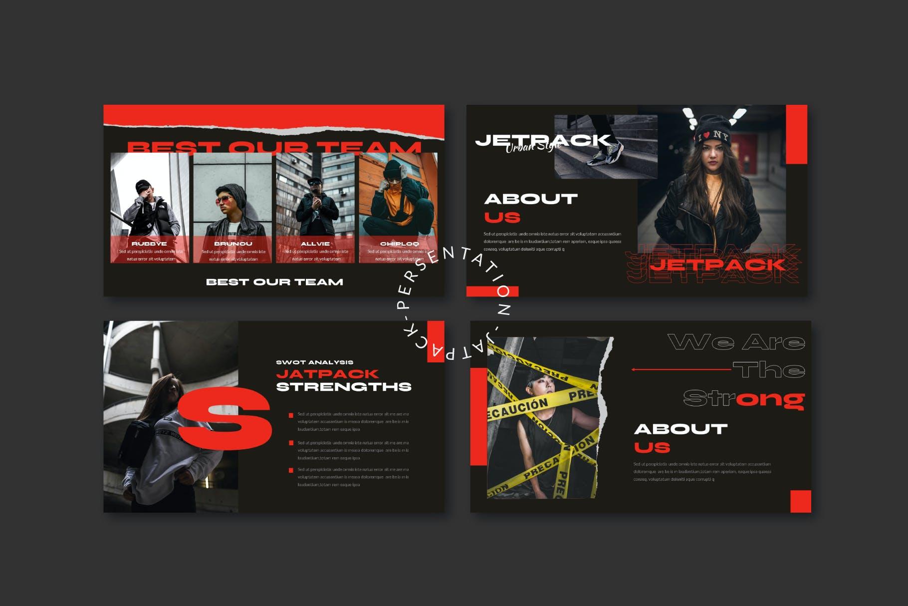 时尚潮流街头文化潮牌品牌推广深色PPT演示文稿模板 Jetpack – Powerpoint Template插图(4)