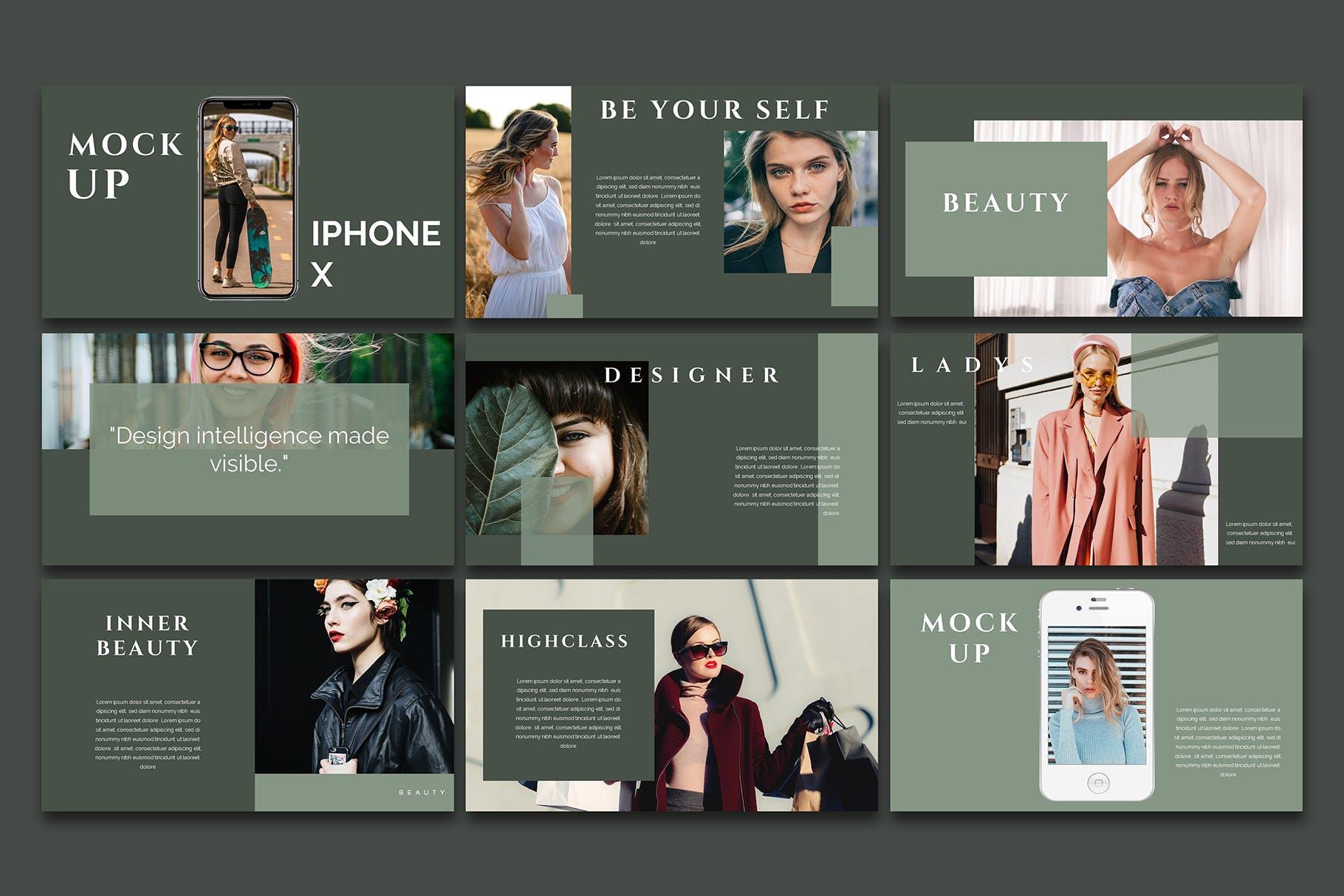 时尚优雅极简莫兰迪色时尚品牌推广PPT演示文稿模板 Arriety – PowerPoint Template插图(4)