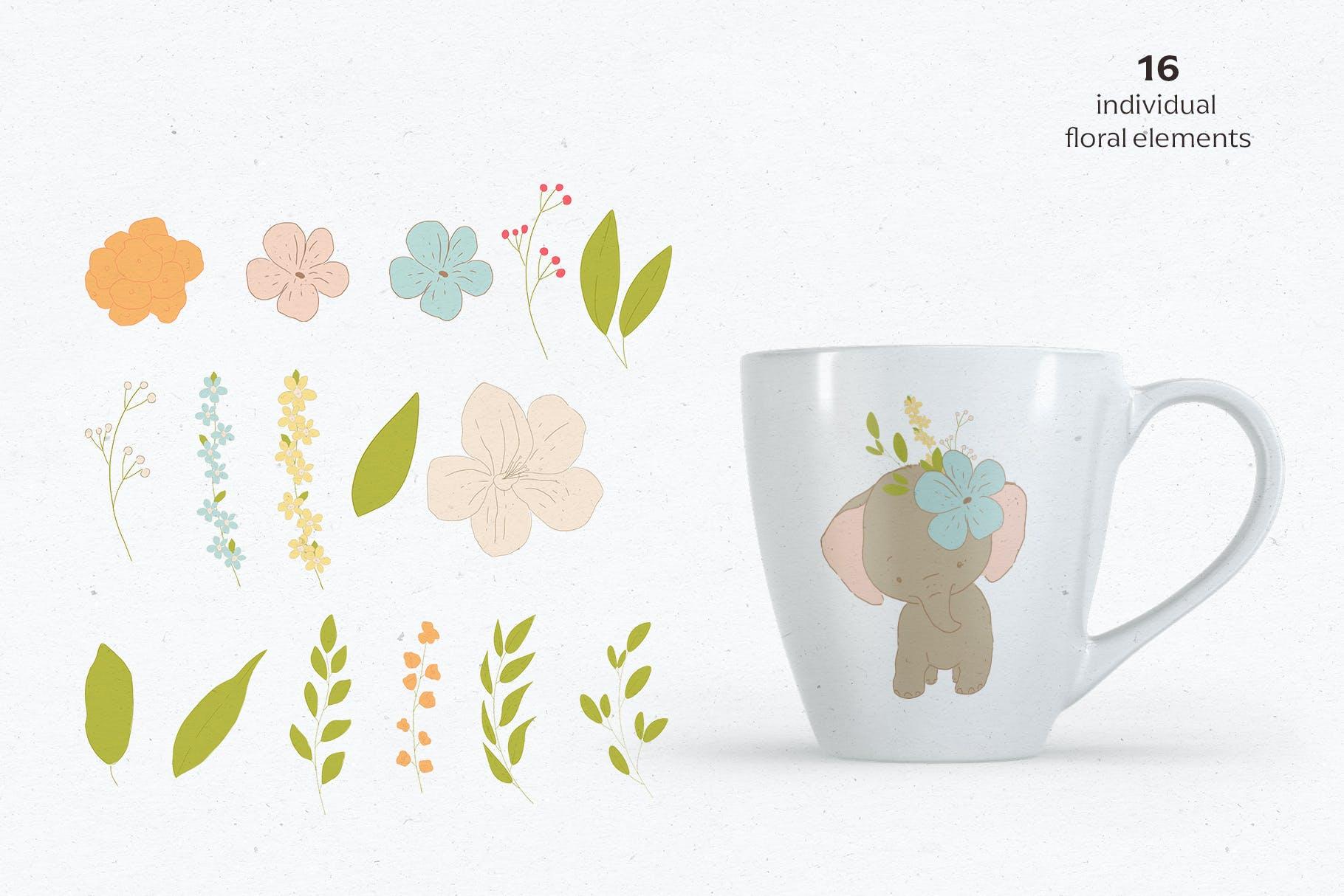 可爱卡通手绘大象花卉插画矢量素材 Baby Shower Elephants插图(4)
