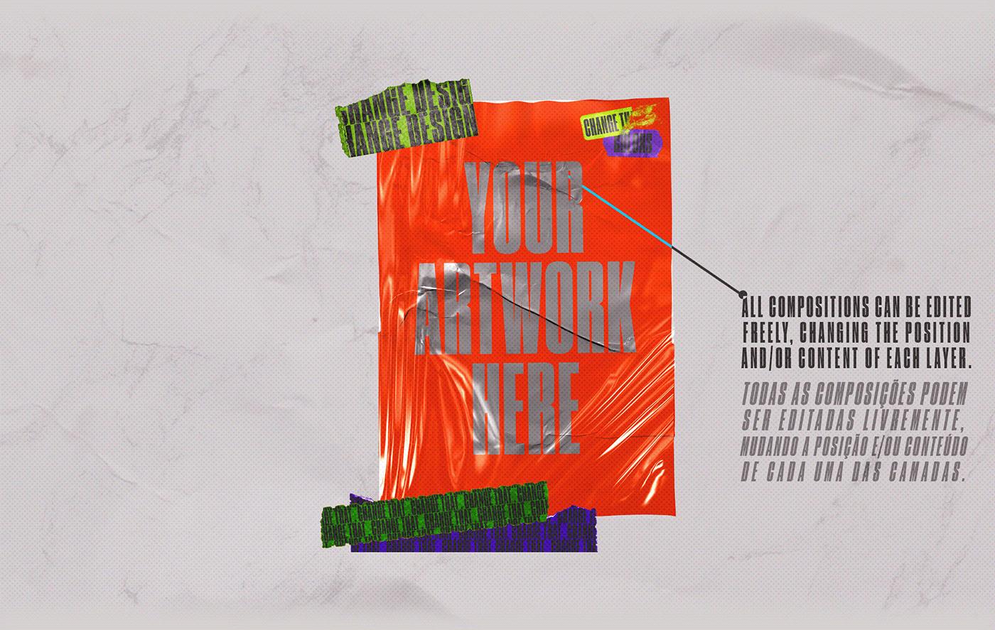 [淘宝购买] 4款潮流撕纸塑料袋叠层效果海报设计贴图PSD样机 CORES Mockups Pack插图(4)