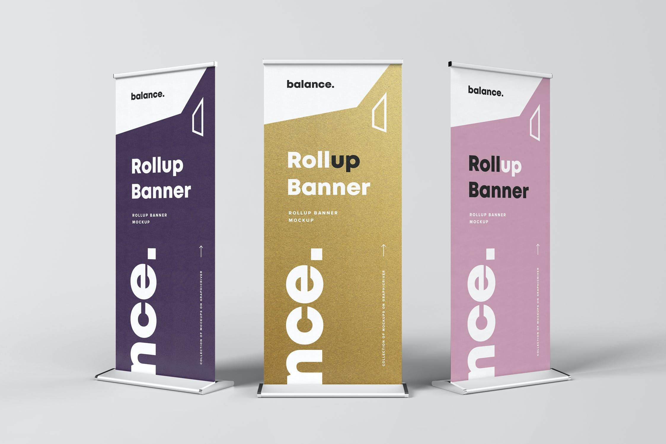7款自立式易拉宝展架横幅海报设计展示样机模板 Roll Up Banner Mockup插图(4)