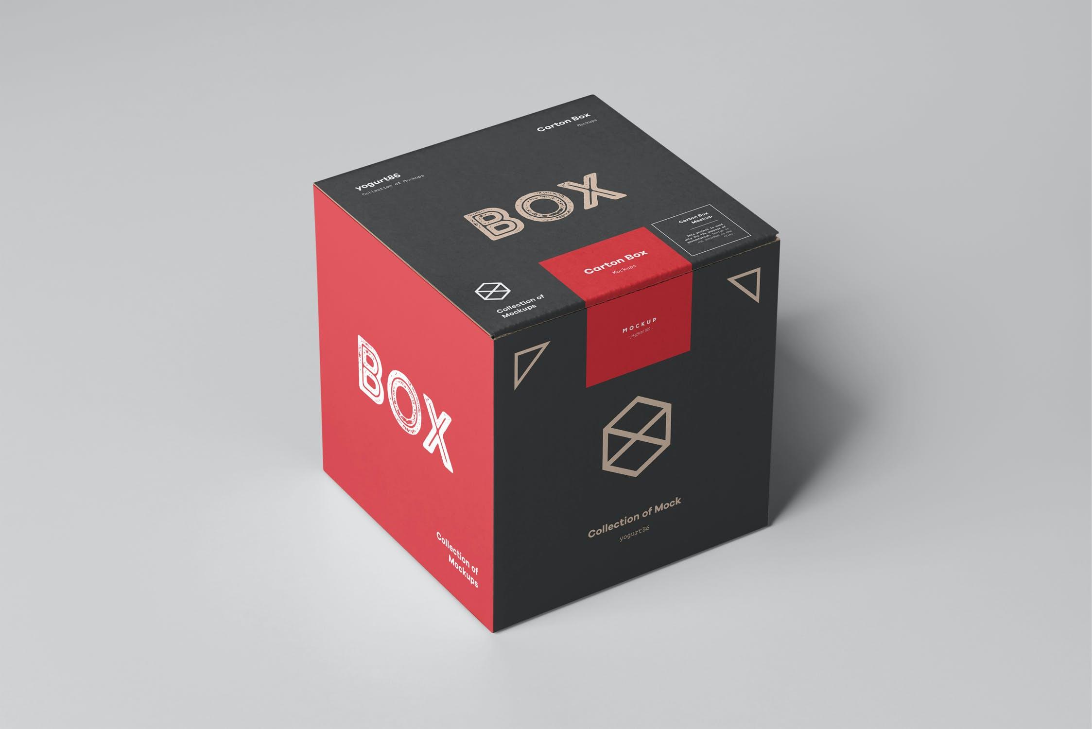 方形产品快递包装纸箱设计展示样机模板 Carton Box Mockup 100x100x100插图(4)