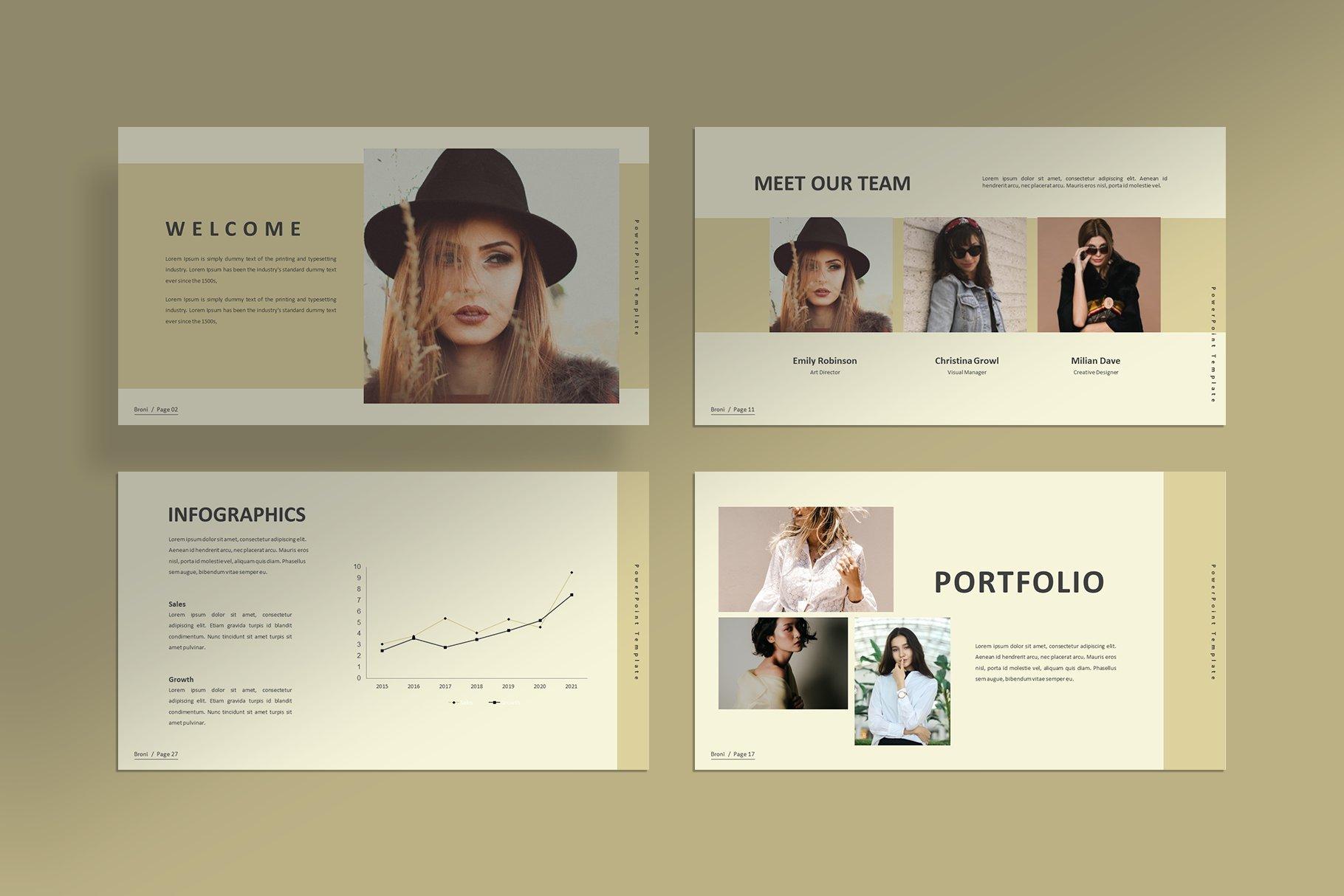 简洁服装摄影作品集图文排版设计PPT幻灯片模板 Broni – Minimalist Presentation插图(5)