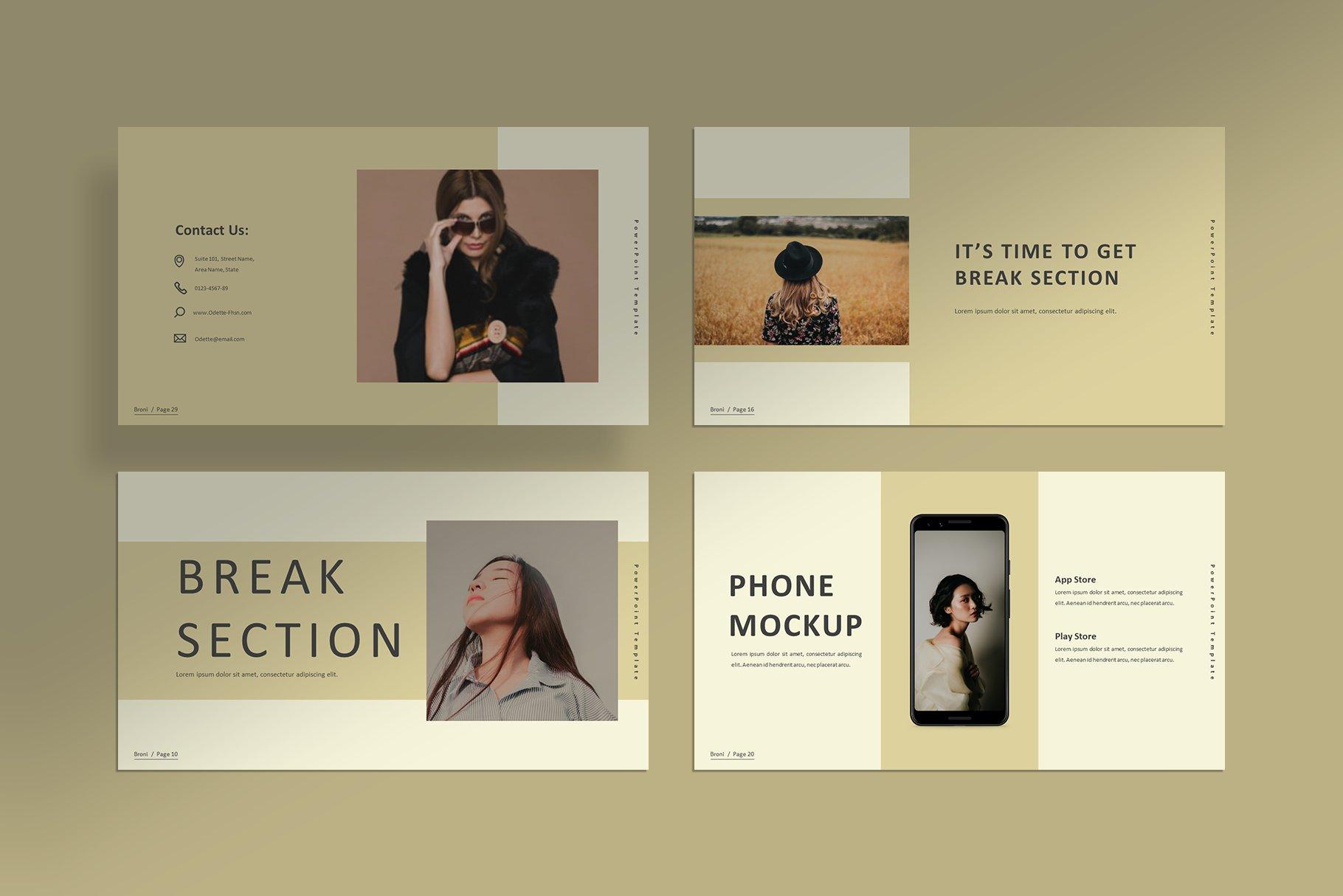 简洁服装摄影作品集图文排版设计PPT幻灯片模板 Broni – Minimalist Presentation插图(6)