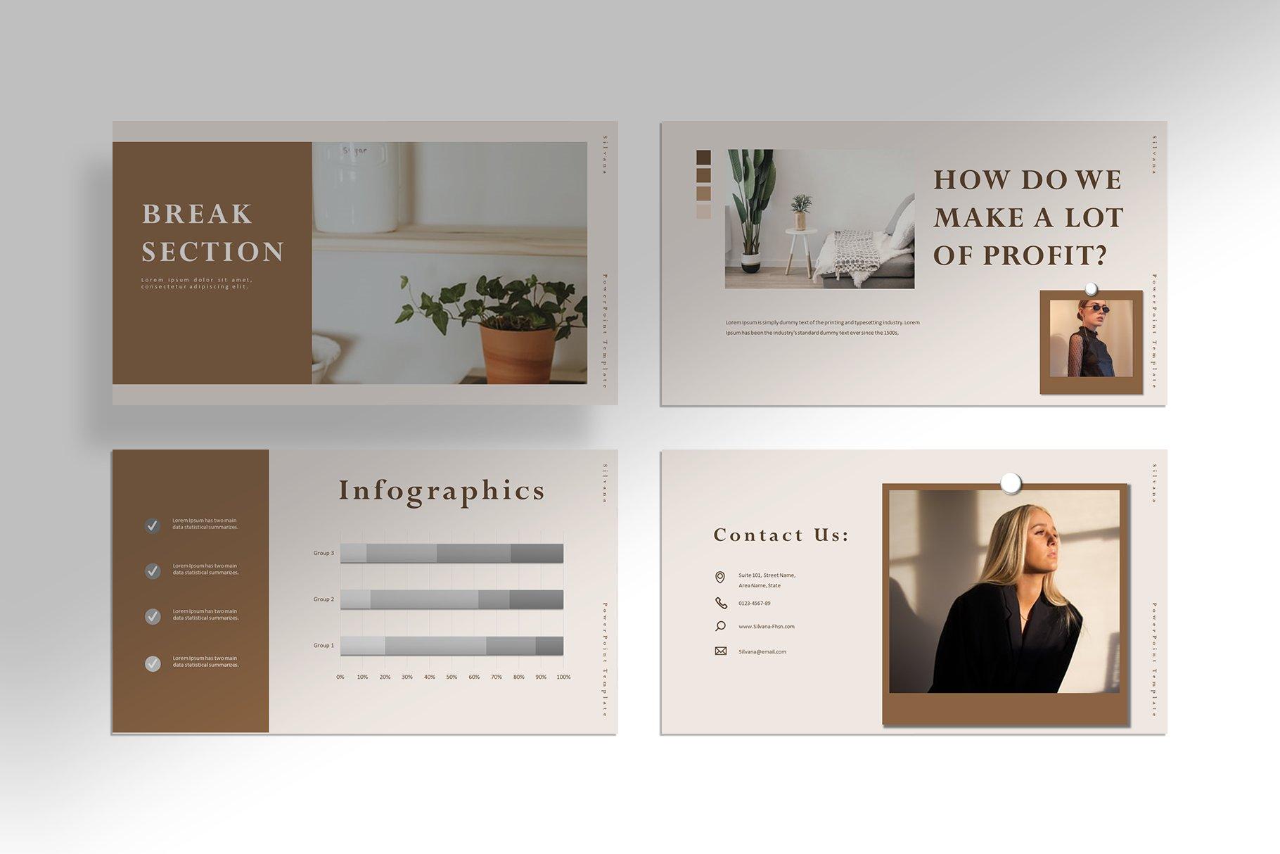 极简女性服装摄影作品集图文排版PPT幻灯片设计模板 Silvana – Presentation Template插图(6)