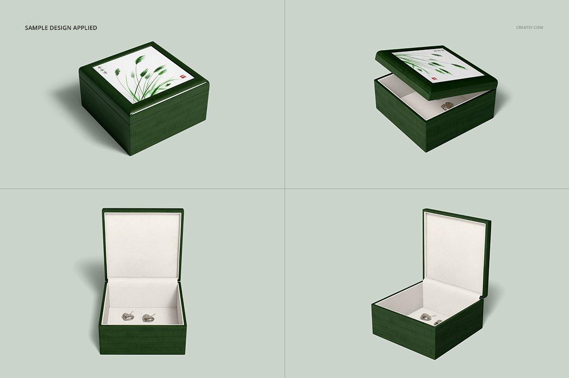 16个木质珠宝盒设计展示样机模板集 Tiled Wood Jewelry Box Mockup Set插图(9)