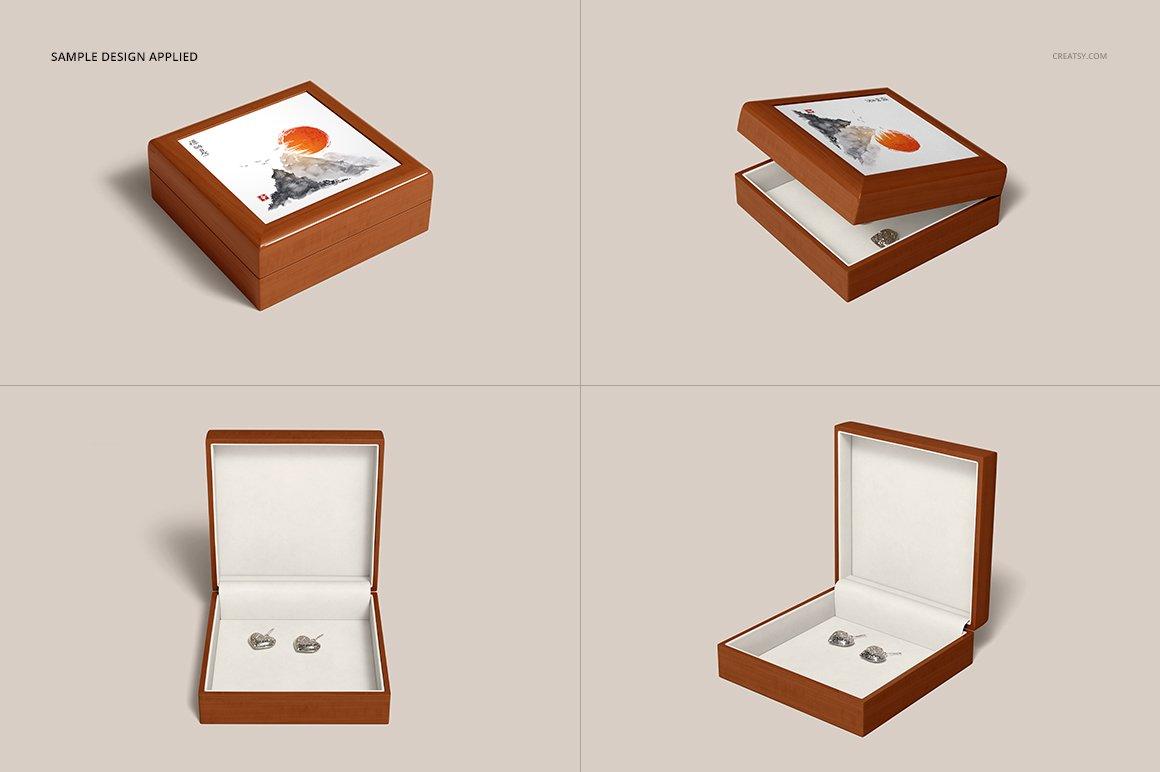 16个木质珠宝盒设计展示样机模板集 Tiled Wood Jewelry Box Mockup Set插图(11)