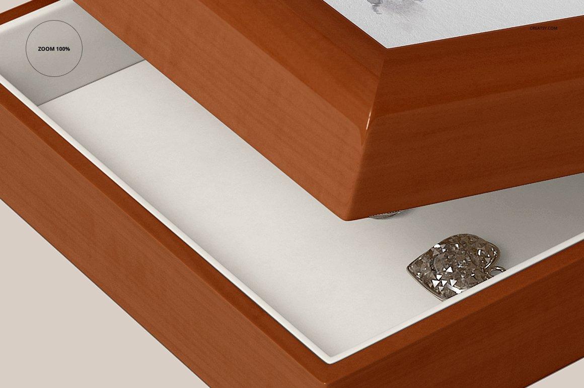 16个木质珠宝盒设计展示样机模板集 Tiled Wood Jewelry Box Mockup Set插图(12)