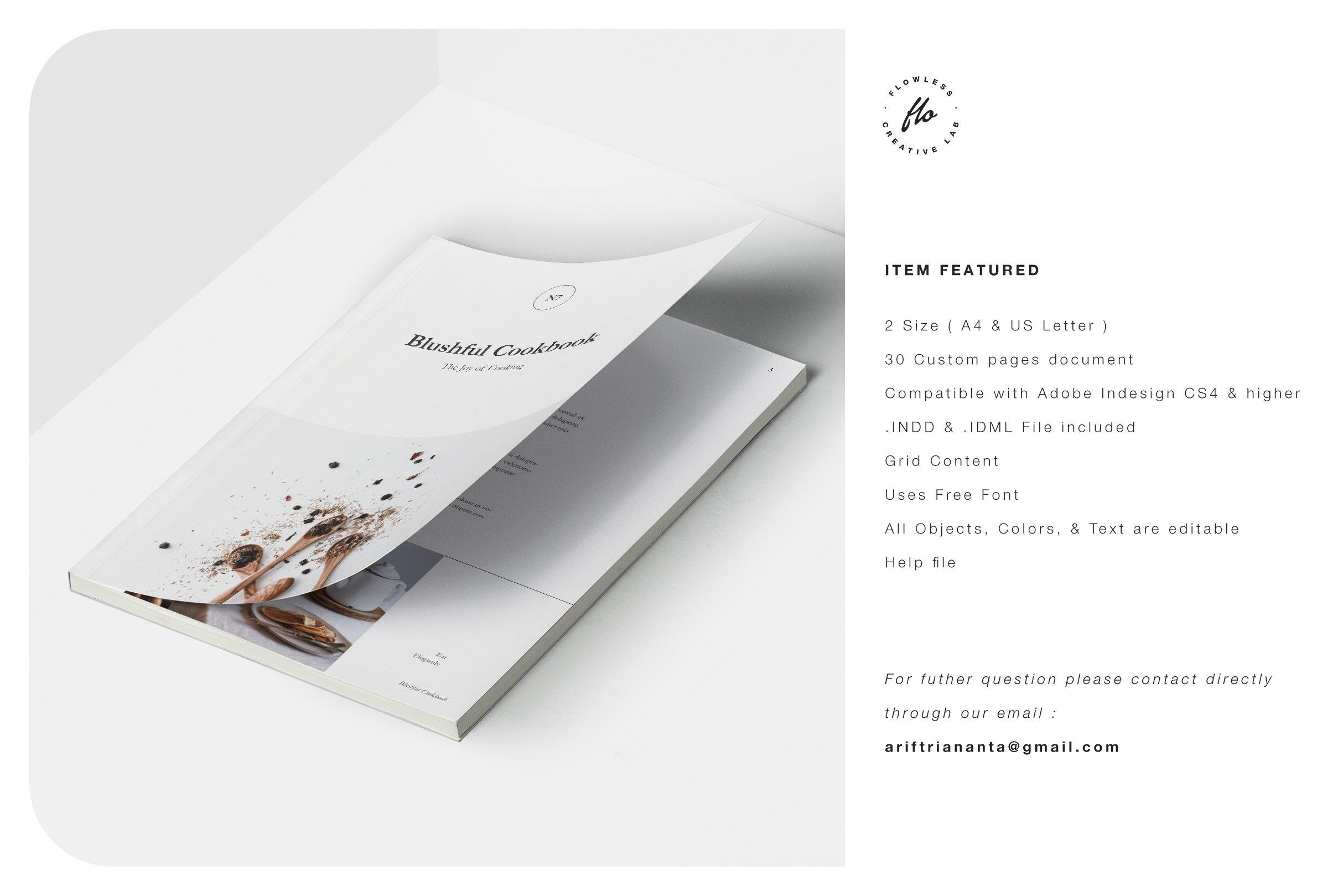 简约食谱菜单图文排版设计INDD画册模板 BLUSHFUL Editorial Cookbook插图(5)