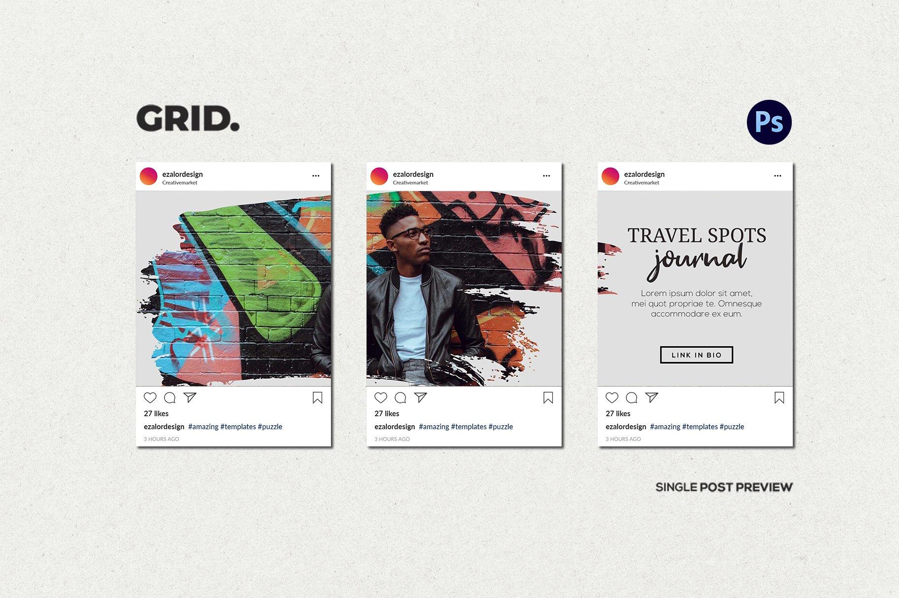 毛笔笔刷效果新媒体电商海报设计PSD模板 Agenda Insta Grid (Triple Posts)插图(4)