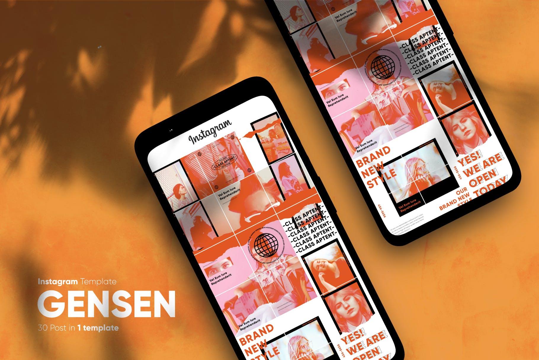 现代拼图效果新媒体推广电商海报设计模板 Gensen – Instagram Puzzle Template插图(5)